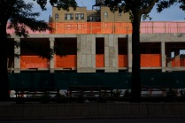 Construction site with orange banners, 148th and Broadway