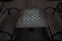 Chess board and park benches on the pedestrian median between 147th and 148th.
