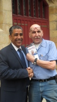 Espaillat with supporter in Harlem